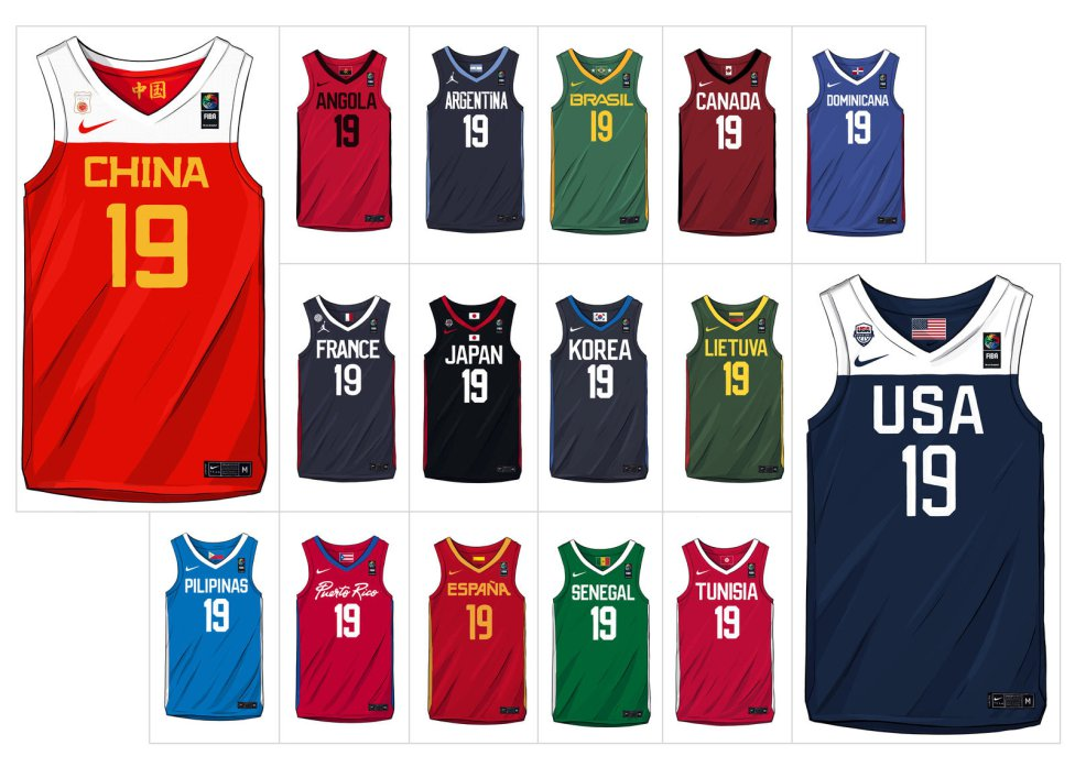 Laboratorio Enemistarse Lógicamente  Así son las camisetas que se usarán durante el Mundial de Baloncesto -  AS.com