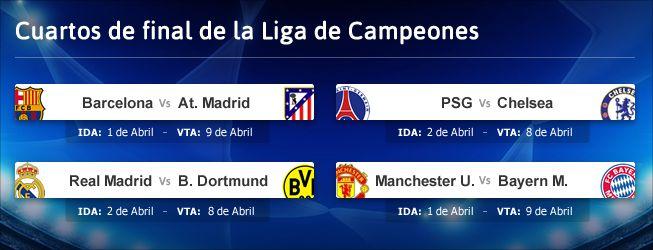 Madrid-Borussia Dortmund y Barcelona-Atlético en cuartos - AS.com