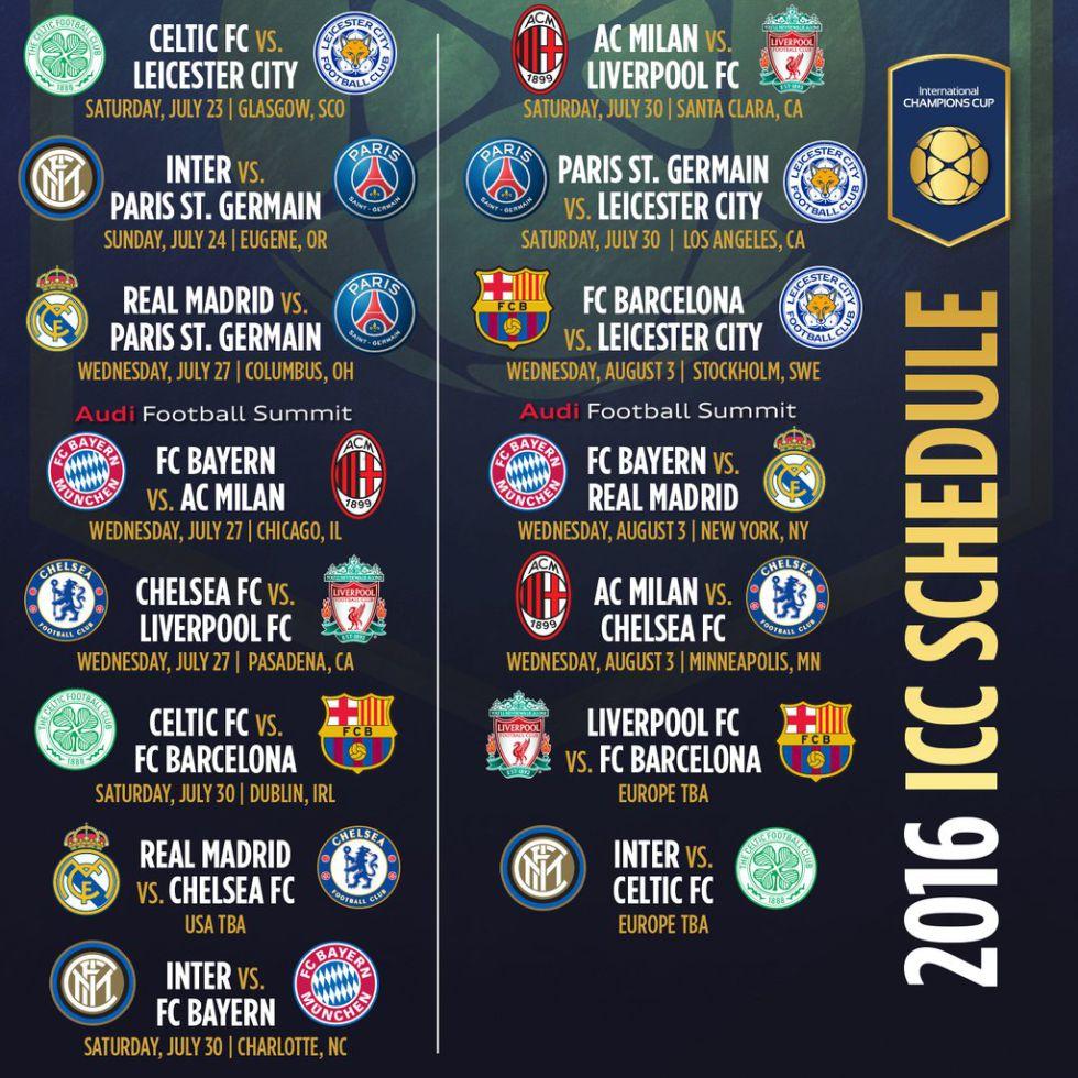 Calendario Icc.Champions Cup Oficial Habra Reencuentro Ancelotti Madrid En