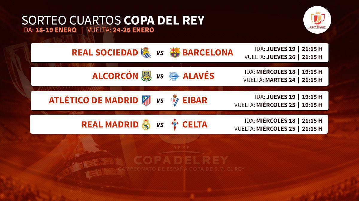 Copa del Rey: Real Madrid-Celta, Atleti-Eibar, Real-Barça, Alcorcón ...
