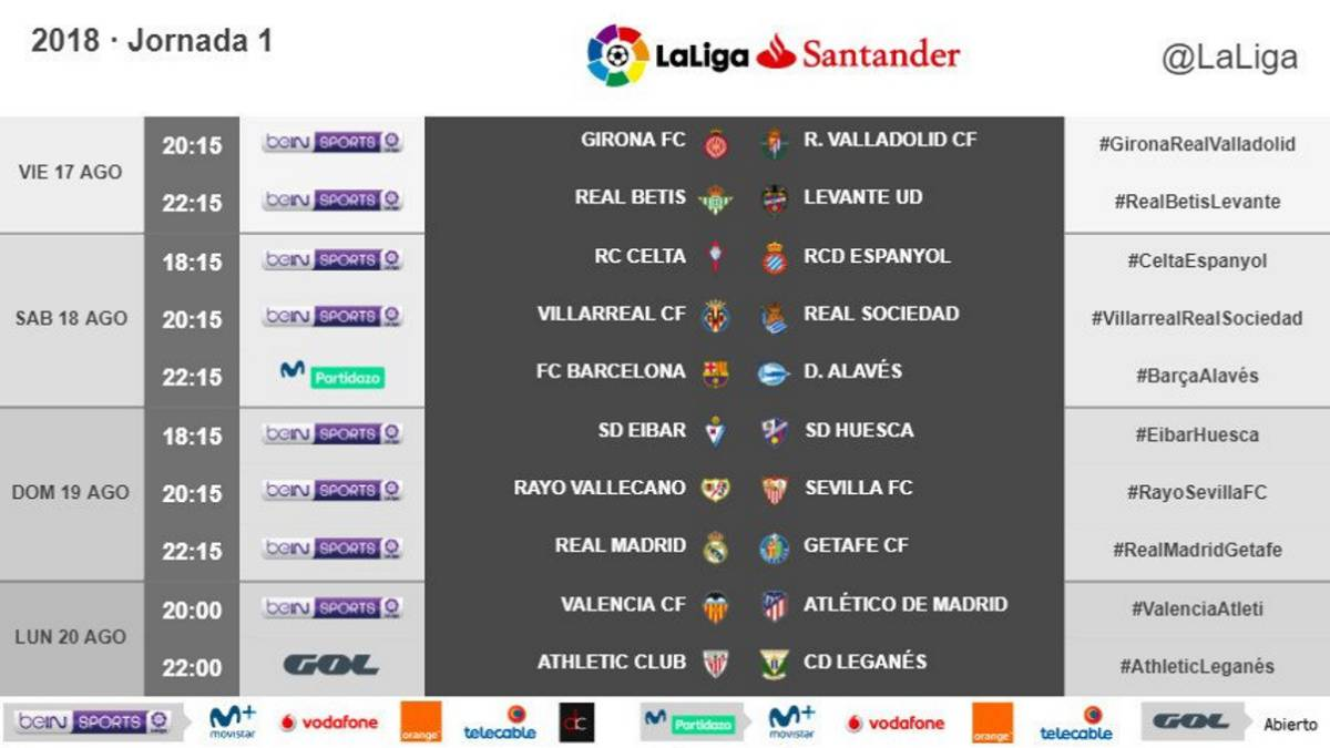 Calendario Del Barca.Madrid Y Barca Debutaran A Las 22 15 El Atleti El Lunes A Las 20