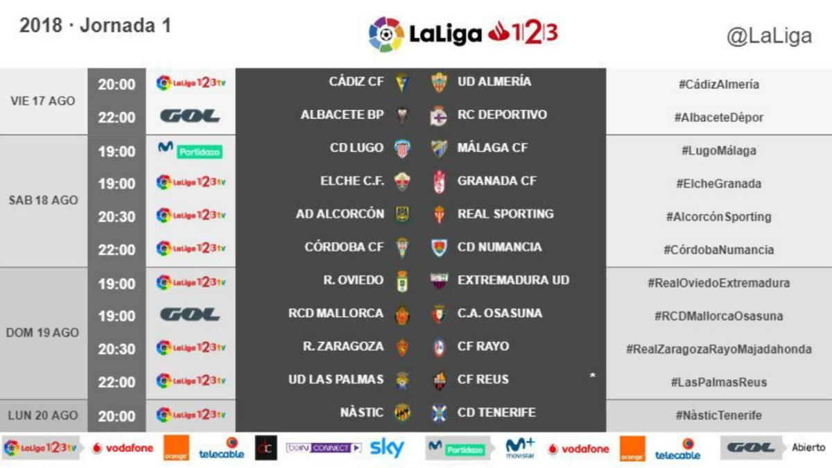 sitio autorizado como comprar mejor selección de 2019 Ya hay horarios de la primera jornada de Segunda División ...