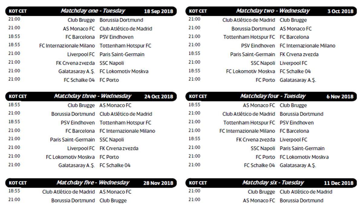 Calendario Champions Legue.Champions League Calendario Y Horario De La Champions