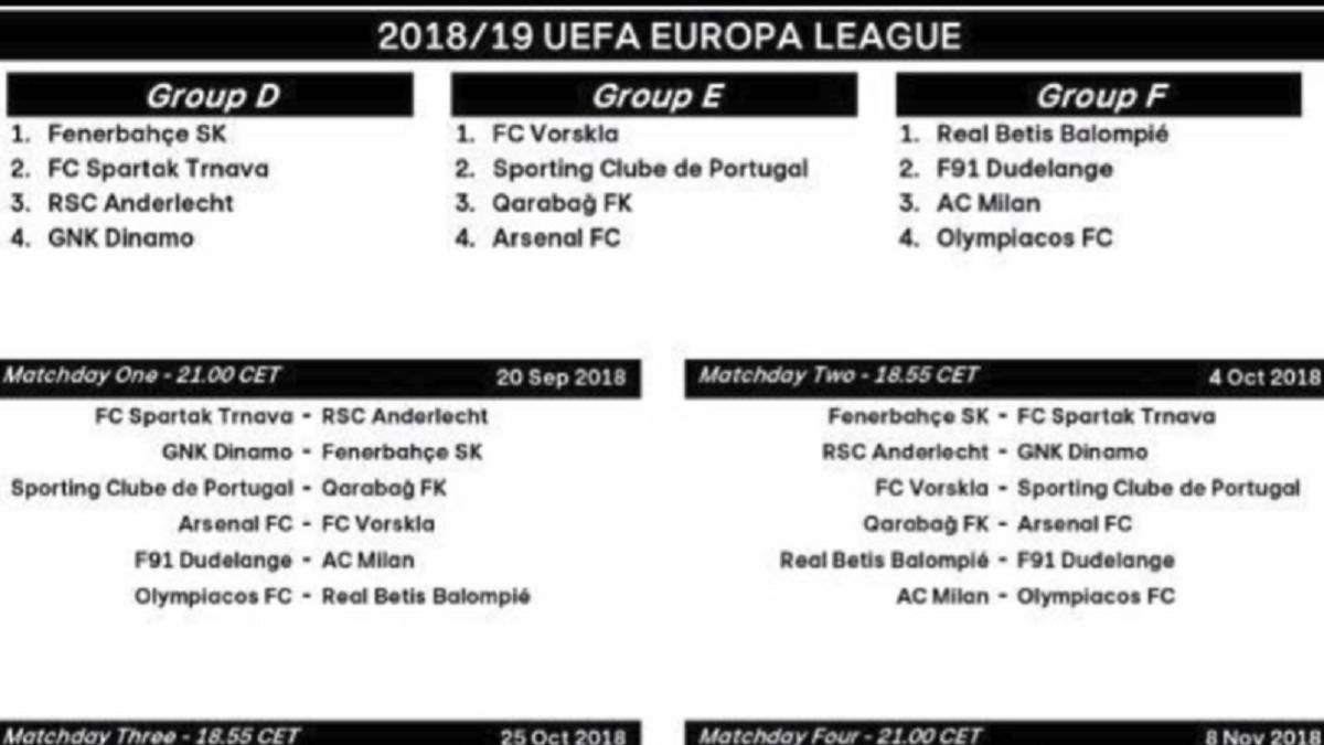 Calendario Uefa Champions League.Calendario Y Horarios De La Europa League 2018 19 As Com