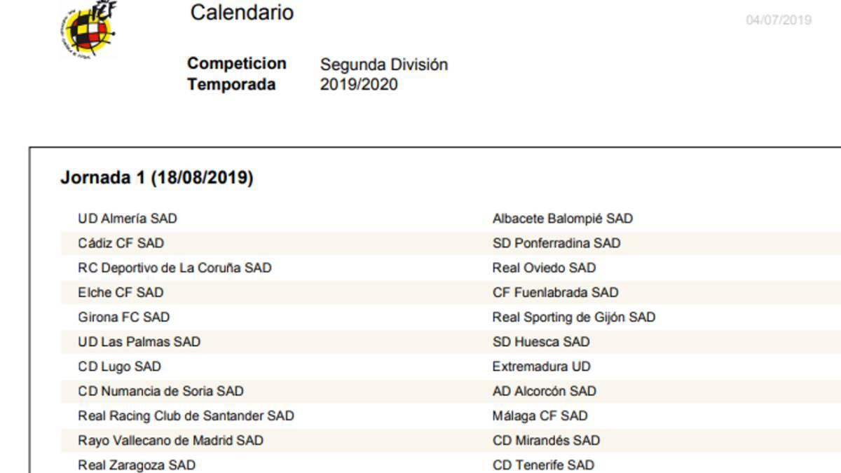 Calendario Liga Segunda.Ya Hay Calendario De Segunda As Com