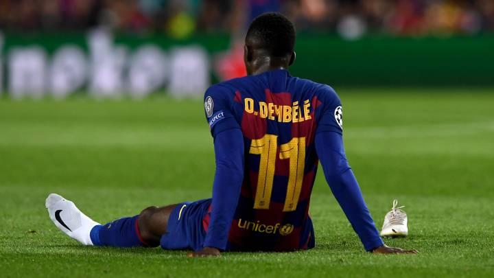 Dembelé del FC Barcelona lesionado