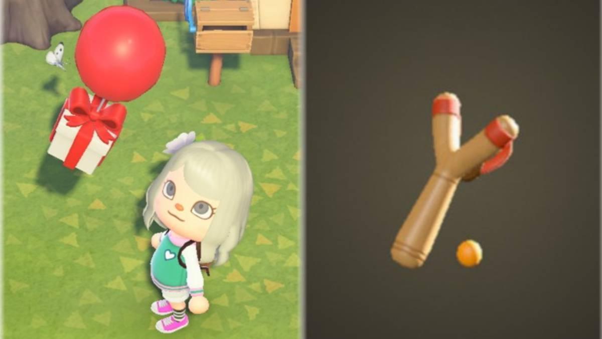 Utiliza las tirachinas para conseguir los regalos que llegan con un globo.